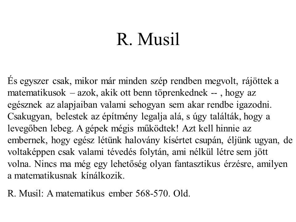 R. Musil És egyszer csak, mikor már minden szép rendben megvolt, rájöttek a matematikusok – azok, akik ott benn töprenkednek --, hogy az egésznek az a