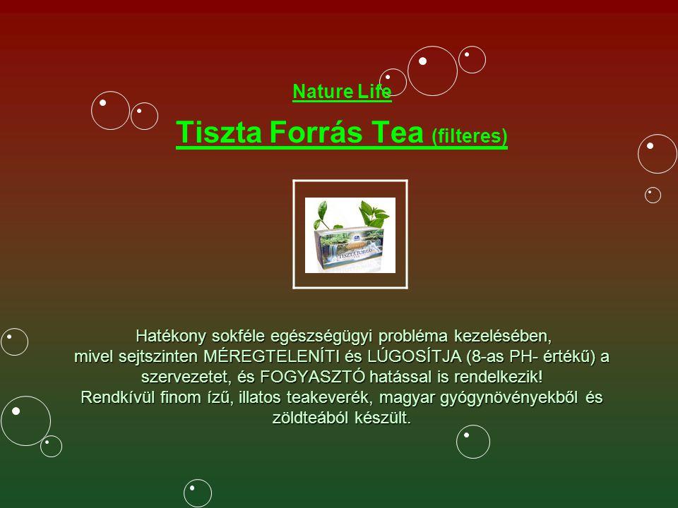 Nature Life Tiszta Forrás Tea (filteres) Hatékony sokféle egészségügyi probléma kezelésében, mivel sejtszinten MÉREGTELENÍTI és LÚGOSÍTJA (8-as PH- értékű) a szervezetet, és FOGYASZTÓ hatással is rendelkezik.