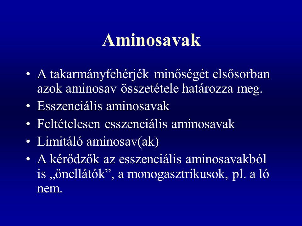 Aminosavak A takarmányfehérjék minőségét elsősorban azok aminosav összetétele határozza meg.