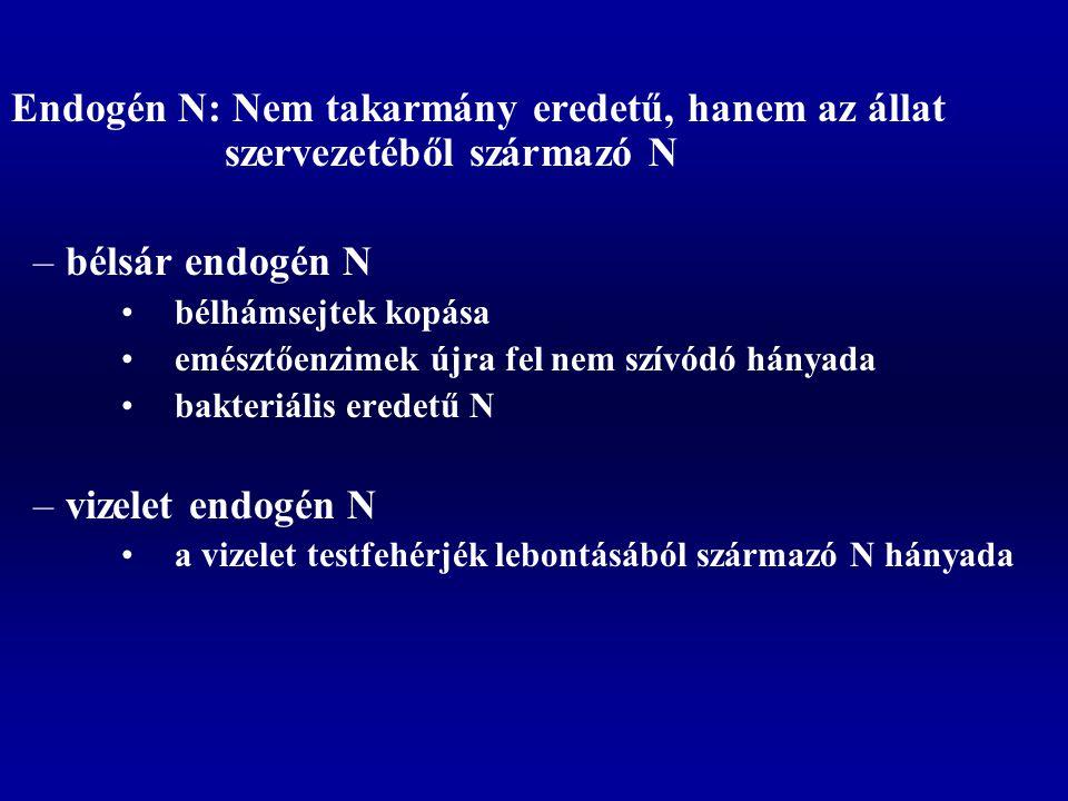 Endogén N: Nem takarmány eredetű, hanem az állat szervezetéből származó N –bélsár endogén N bélhámsejtek kopása emésztőenzimek újra fel nem szívódó hányada bakteriális eredetű N –vizelet endogén N a vizelet testfehérjék lebontásából származó N hányada
