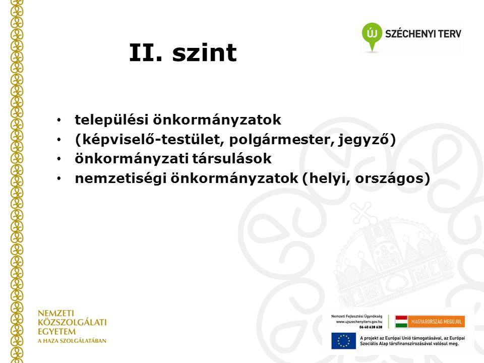 II. szint települési önkormányzatok (képviselő-testület, polgármester, jegyző) önkormányzati társulások nemzetiségi önkormányzatok (helyi, országos)