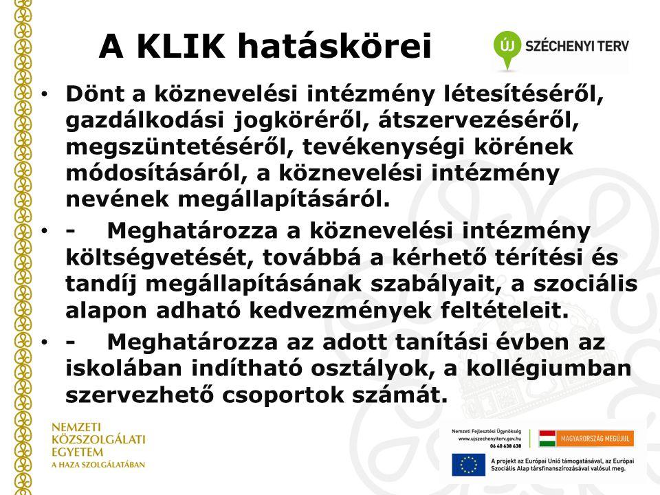 A KLIK hatáskörei Dönt a köznevelési intézmény létesítéséről, gazdálkodási jogköréről, átszervezéséről, megszüntetéséről, tevékenységi körének módosít