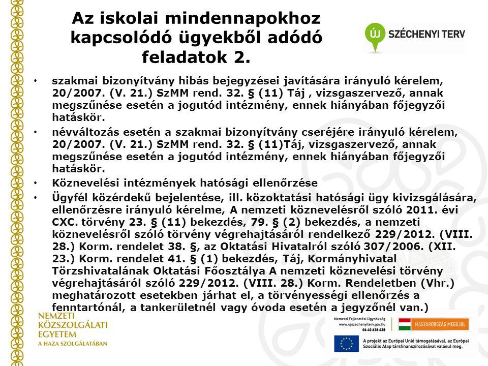Az iskolai mindennapokhoz kapcsolódó ügyekből adódó feladatok 2. szakmai bizonyítvány hibás bejegyzései javítására irányuló kérelem, 20/2007. (V. 21.)