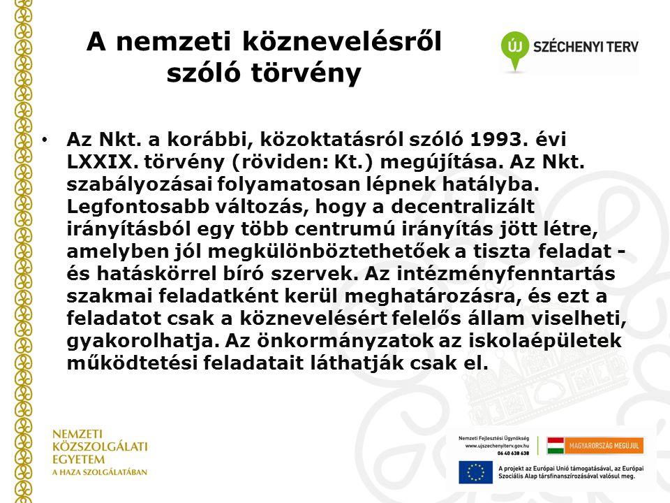 A nemzeti köznevelésről szóló törvény Az Nkt. a korábbi, közoktatásról szóló 1993. évi LXXIX. törvény (röviden: Kt.) megújítása. Az Nkt. szabályozásai