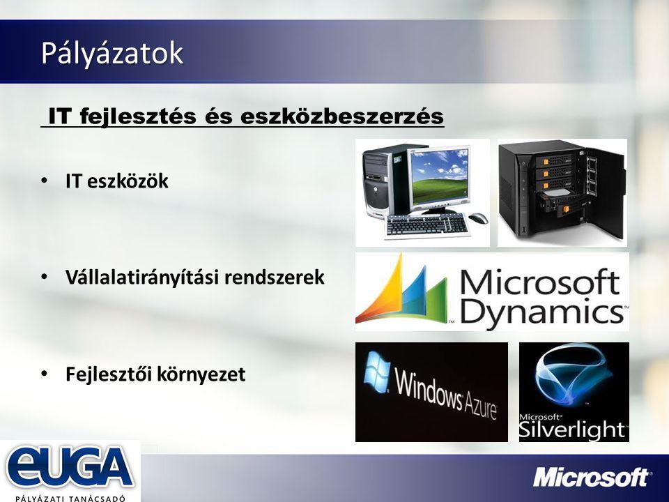 Partner Logójának helye Pályázatok IT fejlesztés és eszközbeszerzés IT eszközök Vállalatirányítási rendszerek Fejlesztői környezet