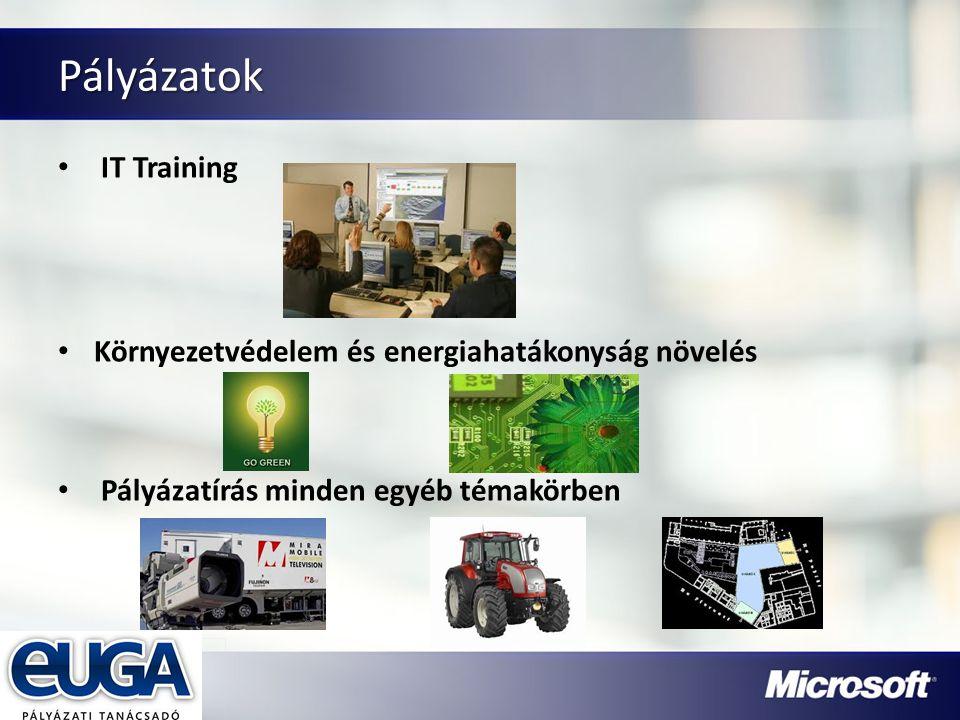 Partner Logójának helye Pályázatok IT Training Környezetvédelem és energiahatákonyság növelés Pályázatírás minden egyéb témakörben