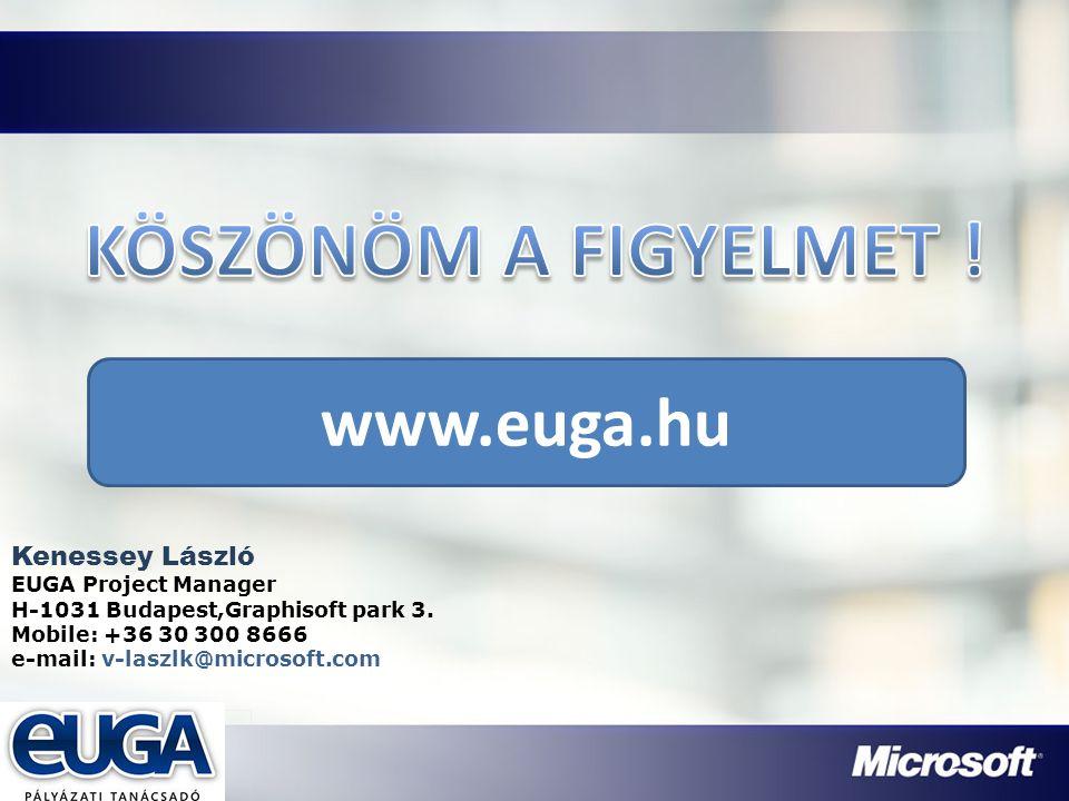 Partner Logójának helye Kenessey László EUGA Project Manager H-1031 Budapest,Graphisoft park 3. Mobile: +36 30 300 8666 e-mail: v-laszlk@microsoft.com