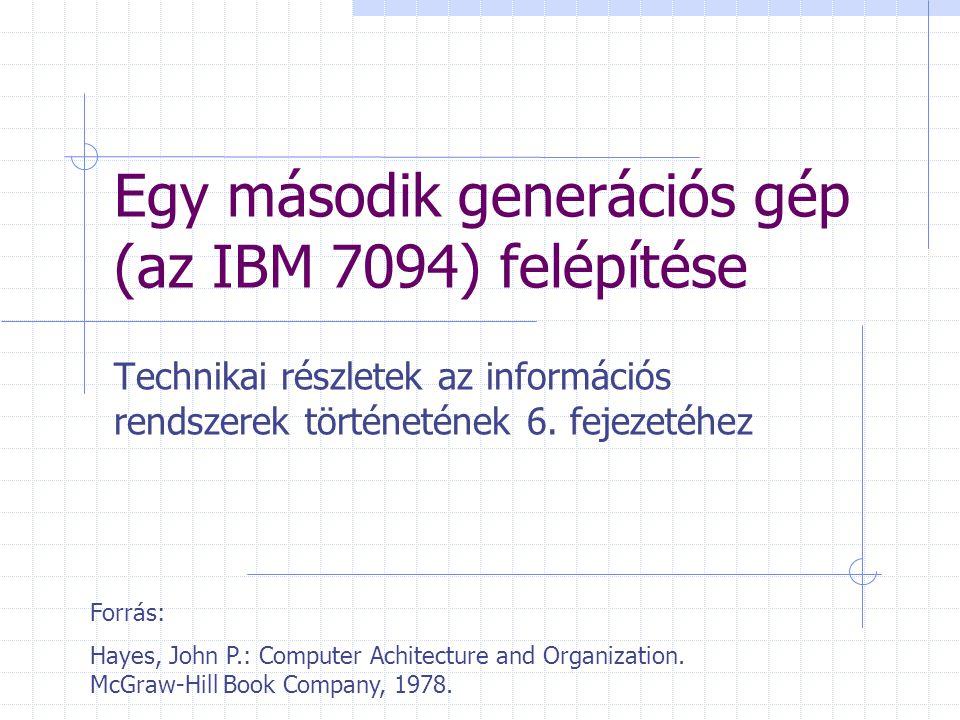 """Az IBM 7094 előzményei 1955, csöves IBM 704: Indexregiszter Lebegőpontos aritmetika Az első üzleti számítógép, aminek volt egy """"vezérlőprogramja , egy kezdetleges operációs rendszer Későbbi modellek és az utód (IBM 709): Input-output processzor A 7090 és a 7094 gyakorlatilag az IBM 709 tranzisztorizált változata Az IBM 7094 tudományos célú számítógép"""