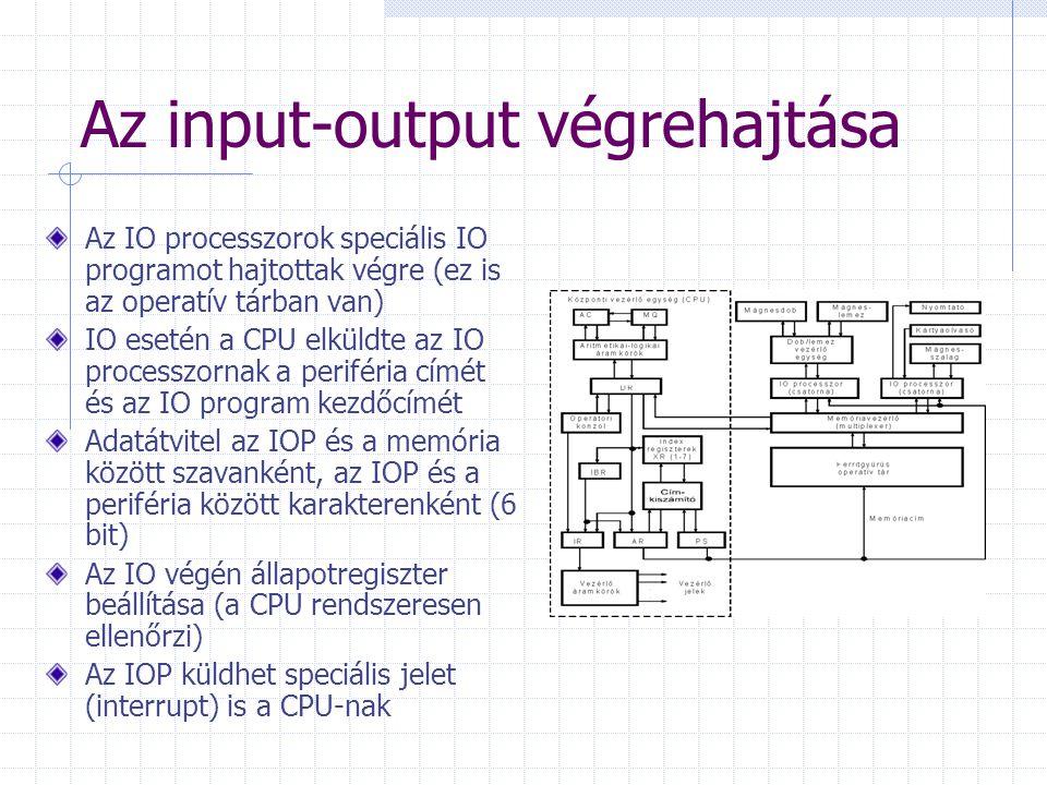 Az input-output végrehajtása Az IO processzorok speciális IO programot hajtottak végre (ez is az operatív tárban van) IO esetén a CPU elküldte az IO p