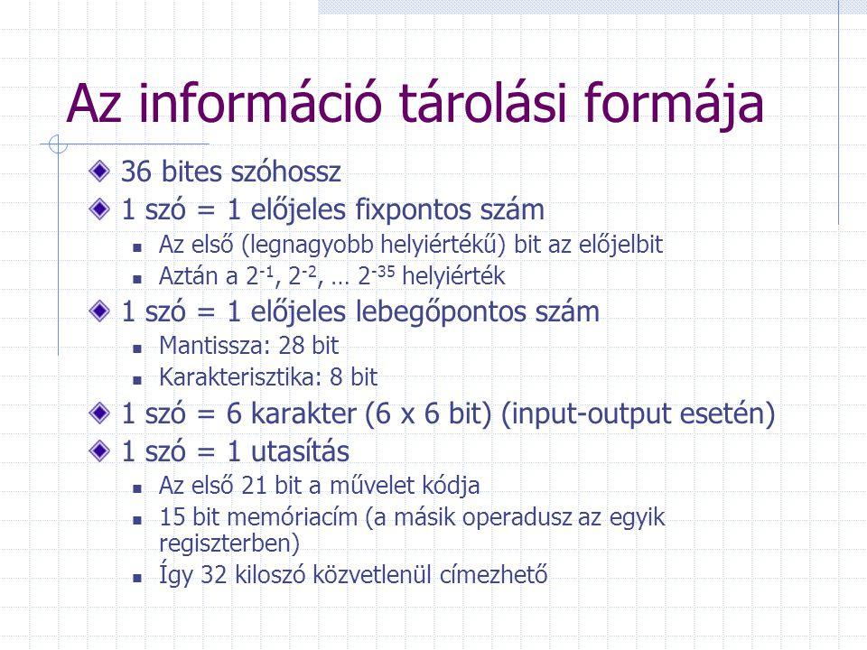 Az információ tárolási formája 36 bites szóhossz 1 szó = 1 előjeles fixpontos szám Az első (legnagyobb helyiértékű) bit az előjelbit Aztán a 2 -1, 2 -