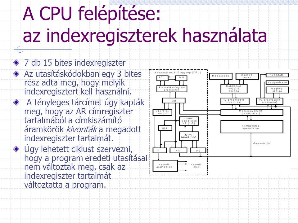 A CPU felépítése: az indexregiszterek használata 7 db 15 bites indexregiszter Az utasításkódokban egy 3 bites rész adta meg, hogy melyik indexregiszte