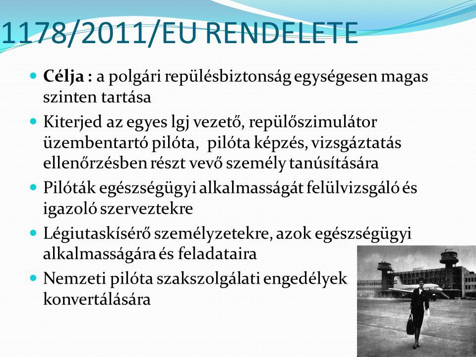 1178/2011/EU RENDELETE Célja : a polgári repülésbiztonság egységesen magas szinten tartása Kiterjed az egyes lgj vezető, repülőszimulátor üzembentartó