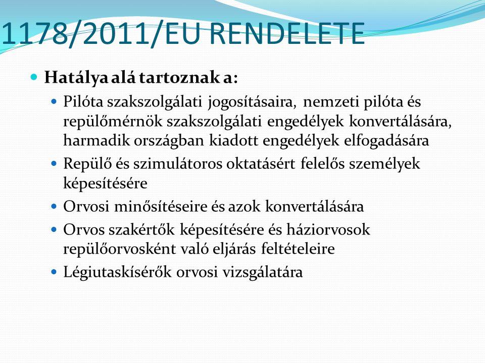 1178/2011/EU RENDELETE Hatálya alá tartoznak a: Pilóta szakszolgálati jogosításaira, nemzeti pilóta és repülőmérnök szakszolgálati engedélyek konvertá