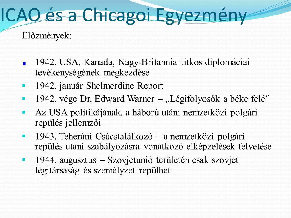 ICAO és a Chicagoi Egyezmény Előzmények: 1942. USA, Kanada, Nagy-Britannia titkos diplomáciai tevékenységének megkezdése  1942. január Shelmerdine Re