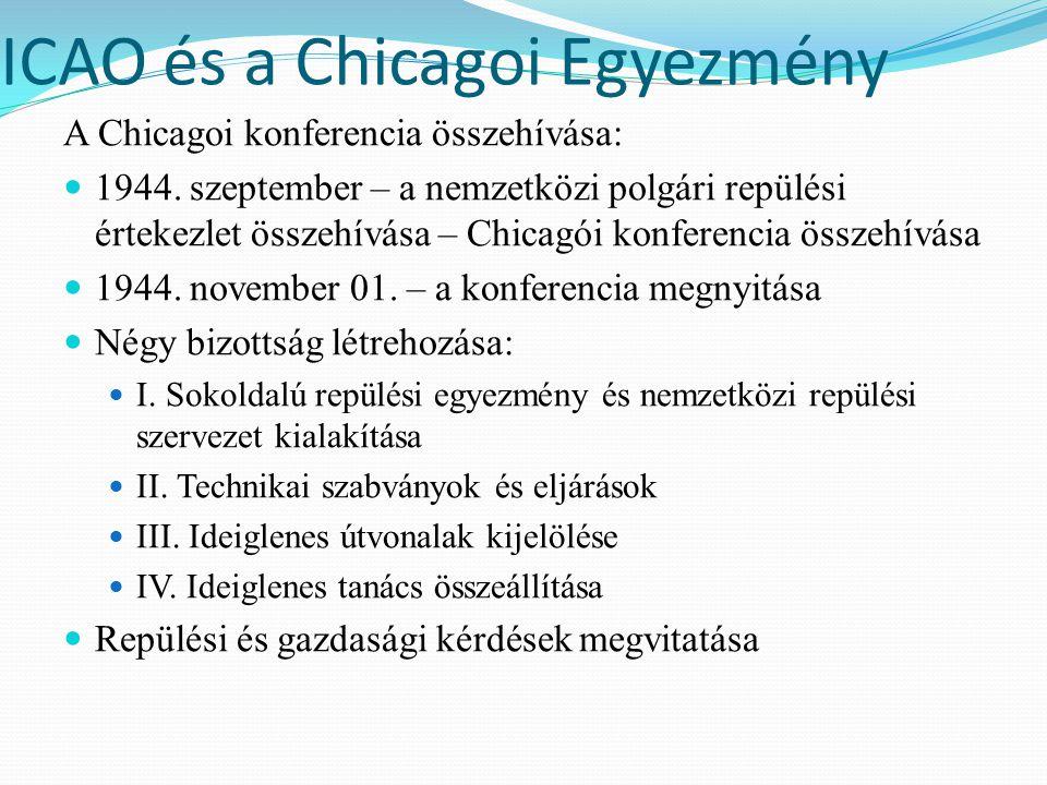ICAO és a Chicagoi Egyezmény A Chicagoi konferencia összehívása: 1944. szeptember – a nemzetközi polgári repülési értekezlet összehívása – Chicagói ko