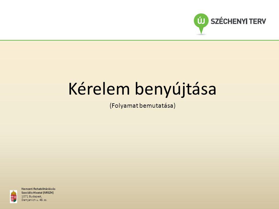 A MŰKENG létrehozásának, alkalmazásának előnyei Kérelem benyújtása (Folyamat bemutatása) Nemzeti Rehabilitációs és Szociális Hivatal (NRSZH) 1071 Budapest, Damjanich u.