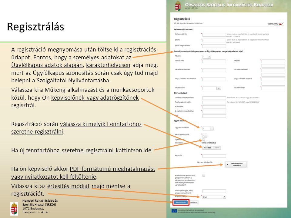 A MŰKENG létrehozásának, alkalmazásának előnyei Nemzeti Rehabilitációs és Szociális Hivatal (NRSZH) 1071 Budapest, Damjanich u.