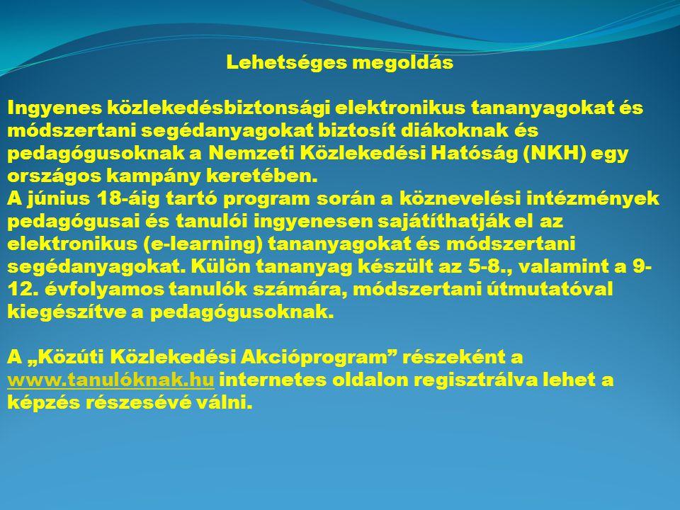 Lehetséges megoldás Ingyenes közlekedésbiztonsági elektronikus tananyagokat és módszertani segédanyagokat biztosít diákoknak és pedagógusoknak a Nemzeti Közlekedési Hatóság (NKH) egy országos kampány keretében.