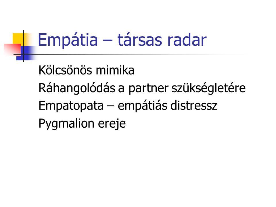 Empátia – társas radar Kölcsönös mimika Ráhangolódás a partner szükségletére Empatopata – empátiás distressz Pygmalion ereje