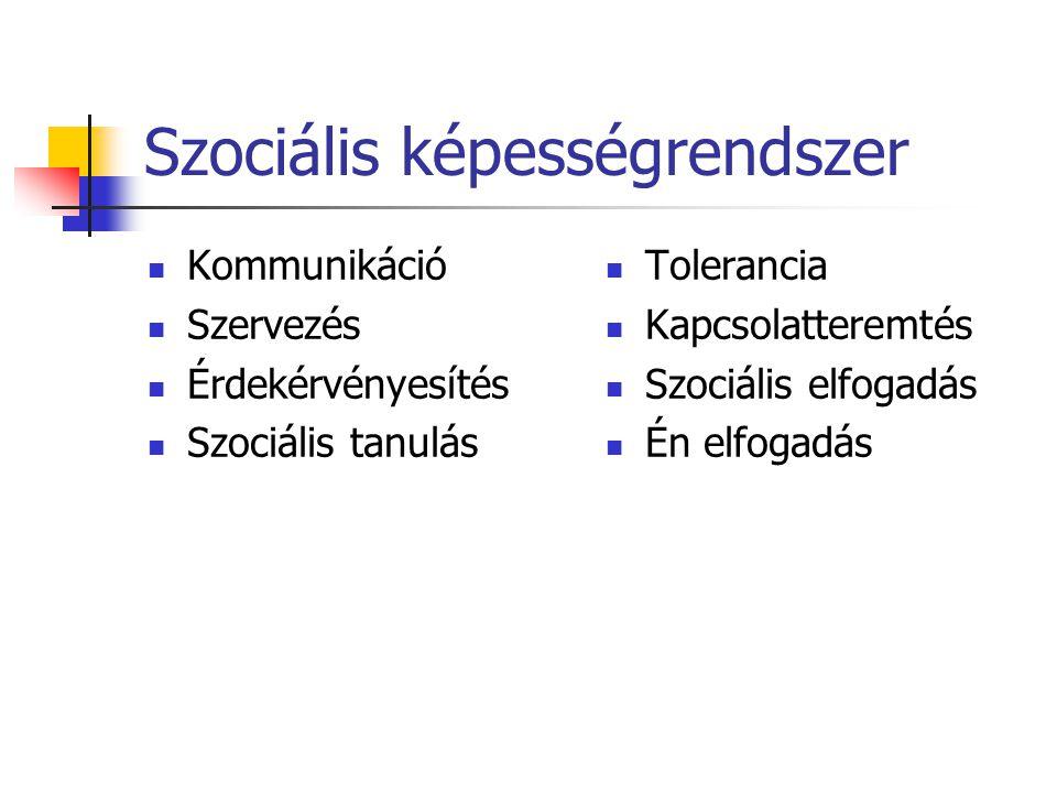 Szociális képességrendszer Kommunikáció Szervezés Érdekérvényesítés Szociális tanulás Tolerancia Kapcsolatteremtés Szociális elfogadás Én elfogadás