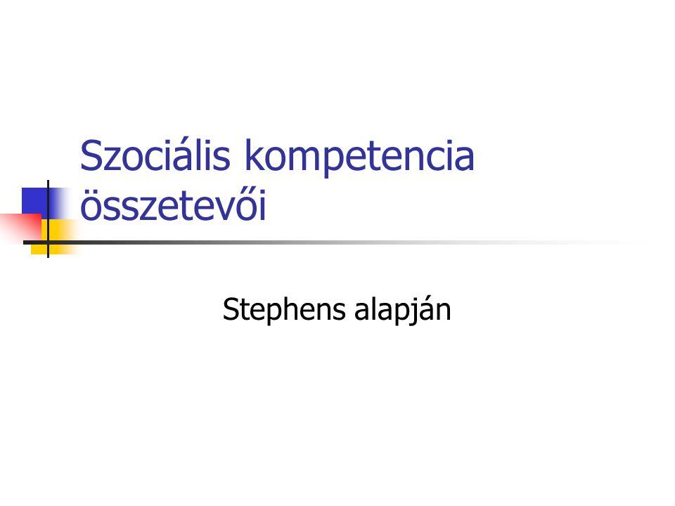 Szociális kompetencia összetevői Stephens alapján