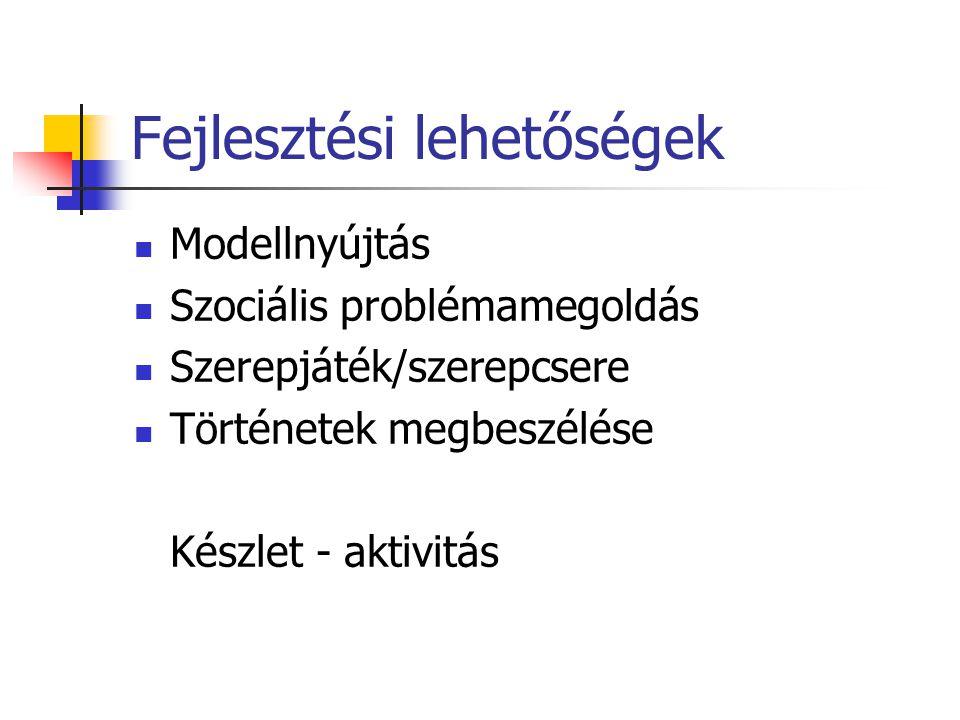 Fejlesztési lehetőségek Modellnyújtás Szociális problémamegoldás Szerepjáték/szerepcsere Történetek megbeszélése Készlet - aktivitás