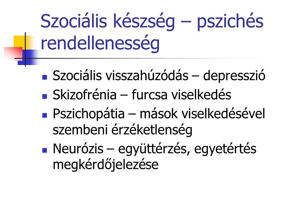 Szociális készség – pszichés rendellenesség Szociális visszahúzódás – depresszió Skizofrénia – furcsa viselkedés Pszichopátia – mások viselkedésével szembeni érzéketlenség Neurózis – együttérzés, egyetértés megkérdőjelezése