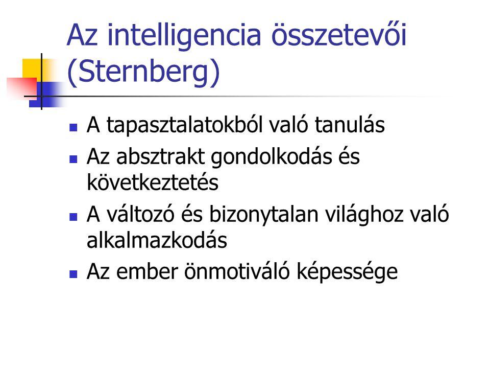 Az intelligencia összetevői (Sternberg) A tapasztalatokból való tanulás Az absztrakt gondolkodás és következtetés A változó és bizonytalan világhoz való alkalmazkodás Az ember önmotiváló képessége