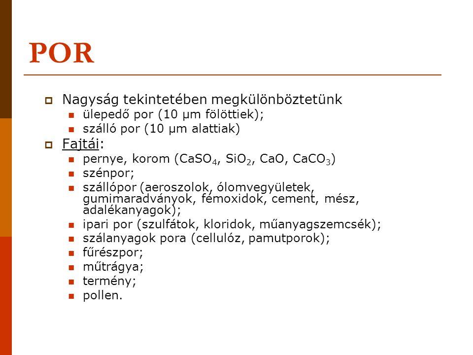 POR  Nagyság tekintetében megkülönböztetünk ülepedő por (10 μm fölöttiek); szálló por (10 μm alattiak)  Fajtái: pernye, korom (CaSO 4, SiO 2, CaO, CaCO 3 ) szénpor; szállópor (aeroszolok, ólomvegyületek, gumimaradványok, fémoxidok, cement, mész, adalékanyagok); ipari por (szulfátok, kloridok, műanyagszemcsék); szálanyagok pora (cellulóz, pamutporok); fűrészpor; műtrágya; termény; pollen.