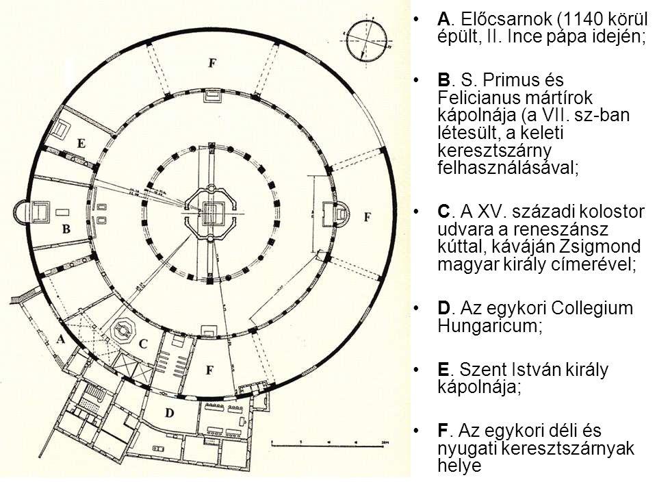 A.Előcsarnok (1140 körül épült, II. Ince pápa idején; B.
