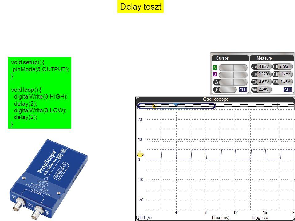 Delay teszt void setup() { pinMode(3,OUTPUT); } void loop() { digitalWrite(3,HIGH); delay(2); digitalWrite(3,LOW); delay(2); }