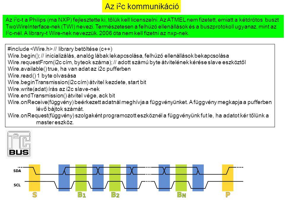 Az i 2 c kommunikáció Az i 2 c-t a Philips (ma NXP) fejlesztette ki, tőlük kell licenszelni. Az ATMEL nem fizetett, emiatt a kétdrótos buszt TwoWireIn