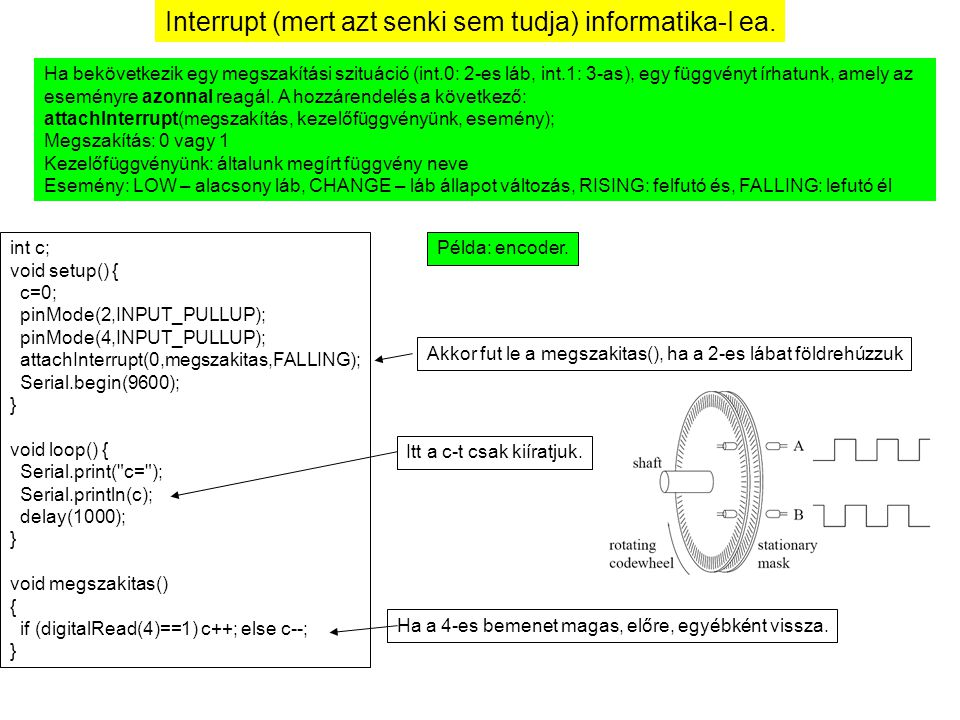 Interrupt (mert azt senki sem tudja) informatika-I ea. Ha bekövetkezik egy megszakítási szituáció (int.0: 2-es láb, int.1: 3-as), egy függvényt írhatu