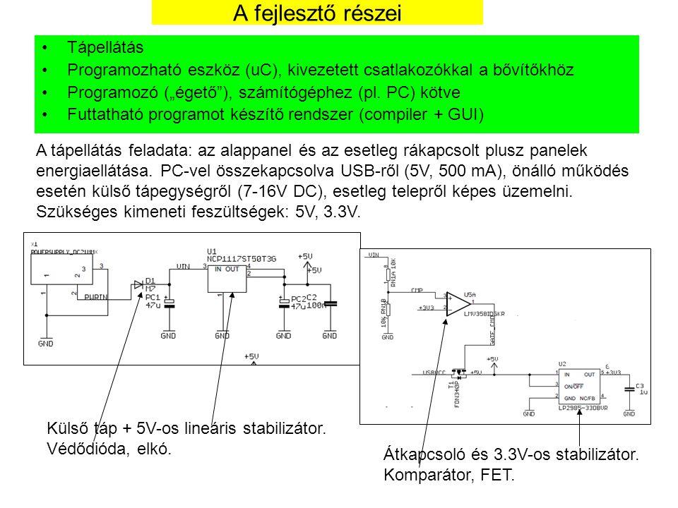 """A fejlesztő részei Tápellátás Programozható eszköz (uC), kivezetett csatlakozókkal a bővítőkhöz Programozó (""""égető""""), számítógéphez (pl. PC) kötve Fut"""