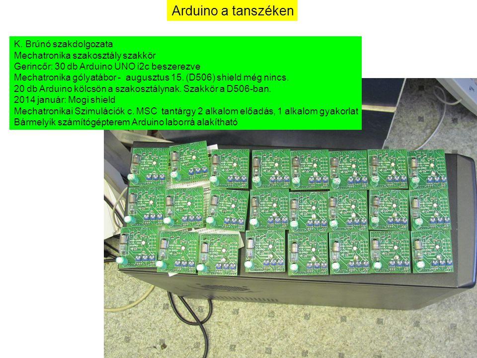 Arduino a tanszéken K. Brúnó szakdolgozata Mechatronika szakosztály szakkör Gerincőr: 30 db Arduino UNO i2c beszerezve Mechatronika gólyatábor - augus