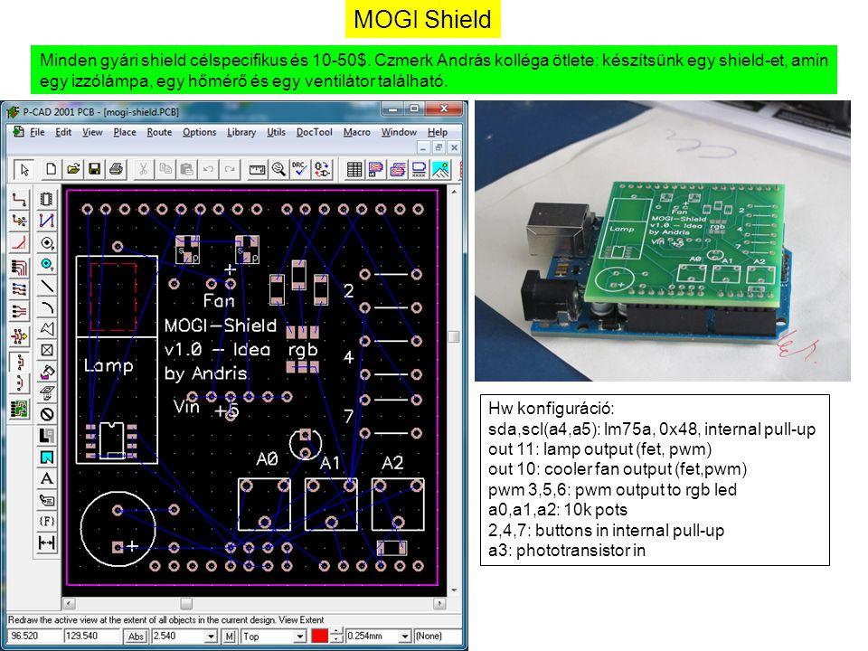MOGI Shield Minden gyári shield célspecifikus és 10-50$. Czmerk András kolléga ötlete: készítsünk egy shield-et, amin egy izzólámpa, egy hőmérő és egy