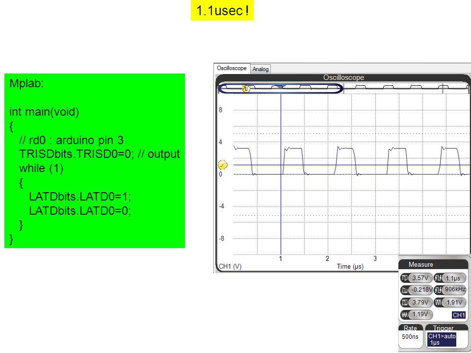 1.1usec ! Mplab: int main(void) { // rd0 : arduino pin 3 TRISDbits.TRISD0=0; // output while (1) { LATDbits.LATD0=1; LATDbits.LATD0=0; }