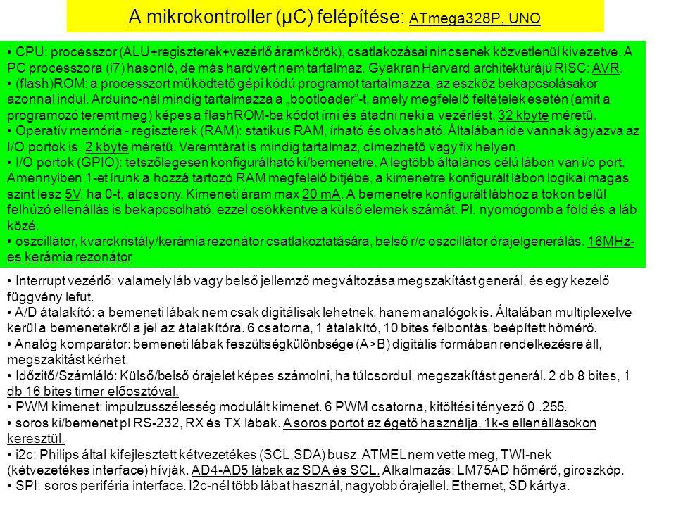 A mikrokontroller (μC) felépítése: ATmega328P, UNO CPU: processzor (ALU+regiszterek+vezérlő áramkörök), csatlakozásai nincsenek közvetlenül kivezetve.