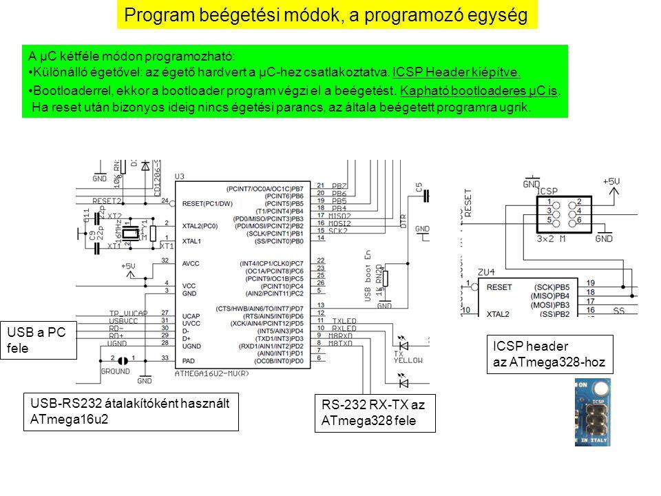 Program beégetési módok, a programozó egység A µC kétféle módon programozható: Különálló égetővel: az égető hardvert a µC-hez csatlakoztatva. ICSP Hea
