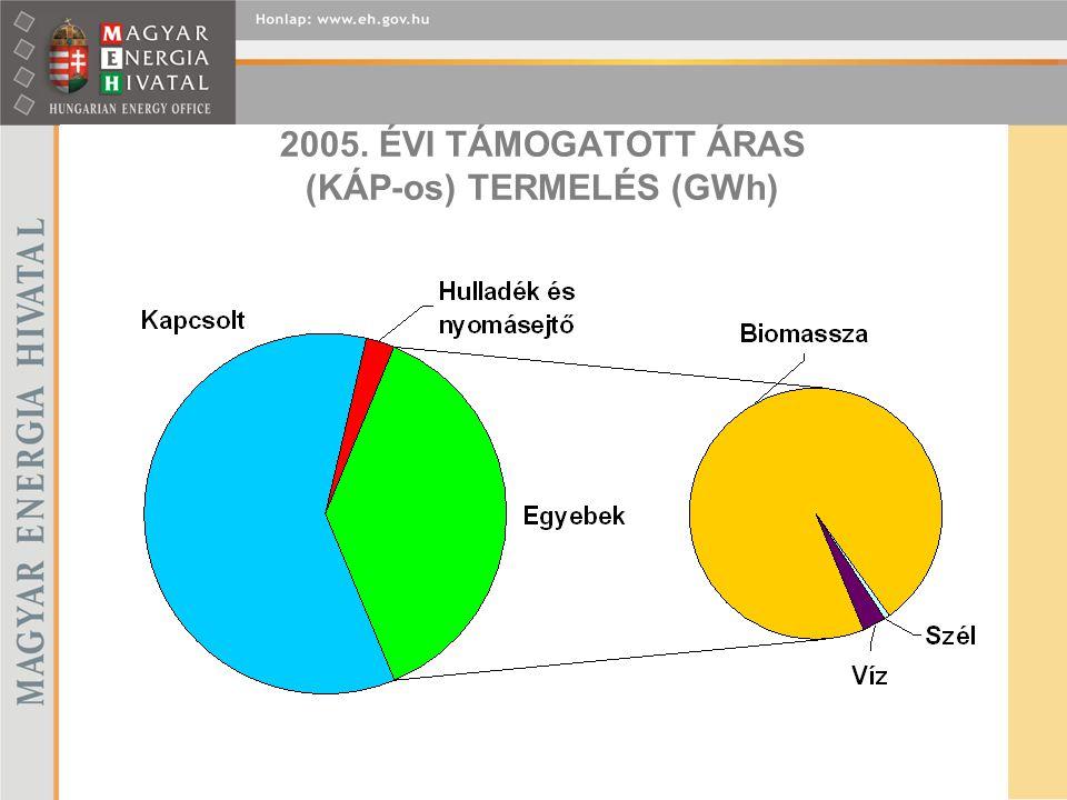 2005. ÉVI TÁMOGATOTT ÁRAS (KÁP-os) TERMELÉS (GWh)