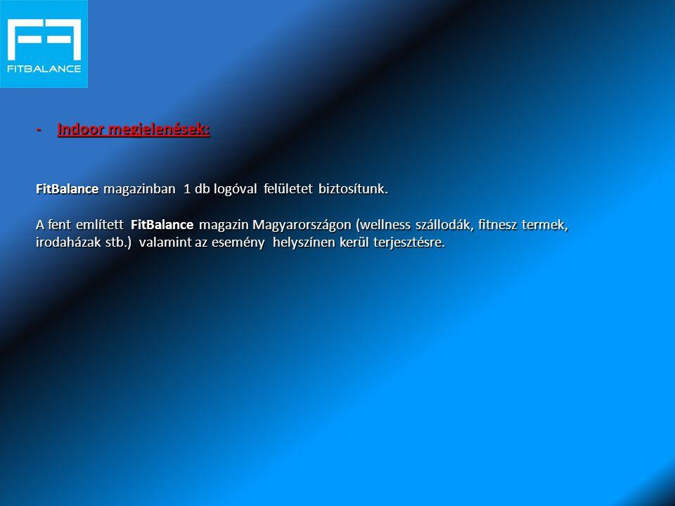 -Indoor megjelenések: FitBalance magazinban 1 db logóval felületet biztosítunk.
