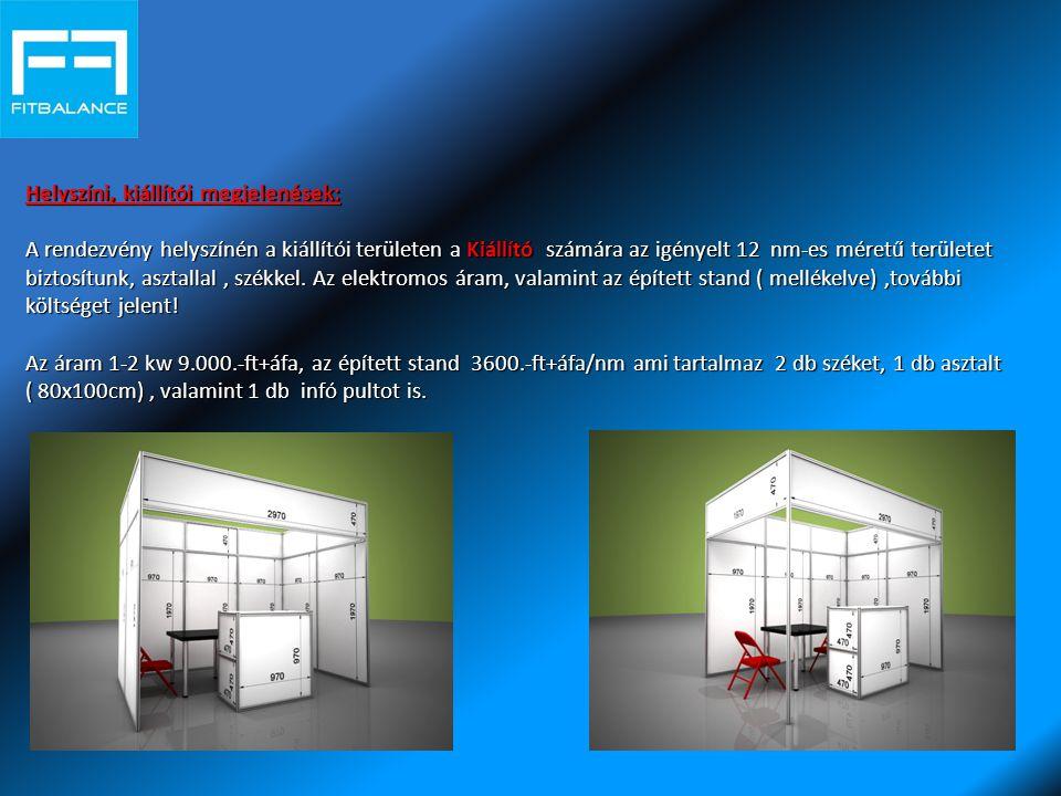 Helyszíni, kiállítói megjelenések: A rendezvény helyszínén a kiállítói területen Kiállító számára az igényelt 12 nm-es méretű területet biztosítunk, asztallal, székkel.