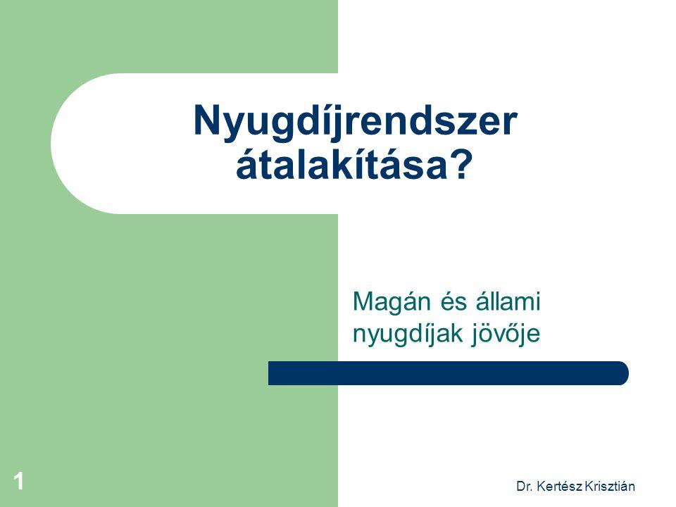 Dr. Kertész Krisztián 1 Nyugdíjrendszer átalakítása? Magán és állami nyugdíjak jövője