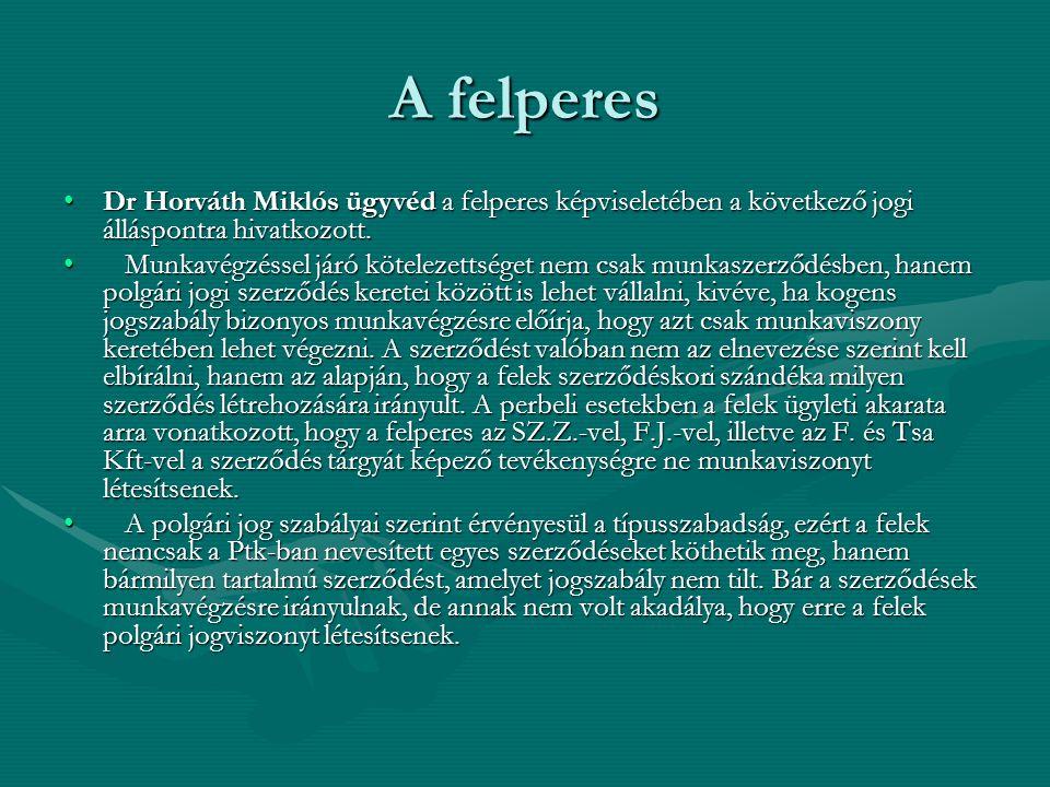 A felperes Dr Horváth Miklós ügyvéd a felperes képviseletében a következő jogi álláspontra hivatkozott.Dr Horváth Miklós ügyvéd a felperes képviseletében a következő jogi álláspontra hivatkozott.