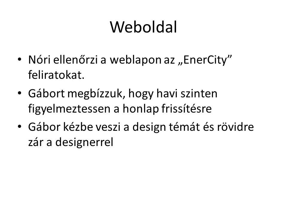"""Weboldal Nóri ellenőrzi a weblapon az """"EnerCity"""" feliratokat. Gábort megbízzuk, hogy havi szinten figyelmeztessen a honlap frissítésre Gábor kézbe ves"""