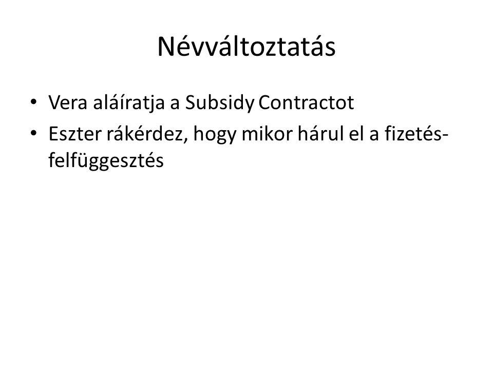Névváltoztatás Vera aláíratja a Subsidy Contractot Eszter rákérdez, hogy mikor hárul el a fizetés- felfüggesztés