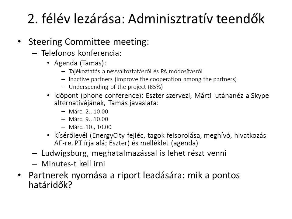 2. félév lezárása: Adminisztratív teendők Steering Committee meeting: – Telefonos konferencia: Agenda (Tamás): – Tájékoztatás a névváltoztatásról és P