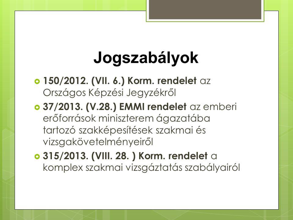 Jogszabályok  150/2012. (VII. 6.) Korm. rendelet az Országos Képzési Jegyzékről  37/2013. (V.28.) EMMI rendelet az emberi erőforrások miniszterem ág