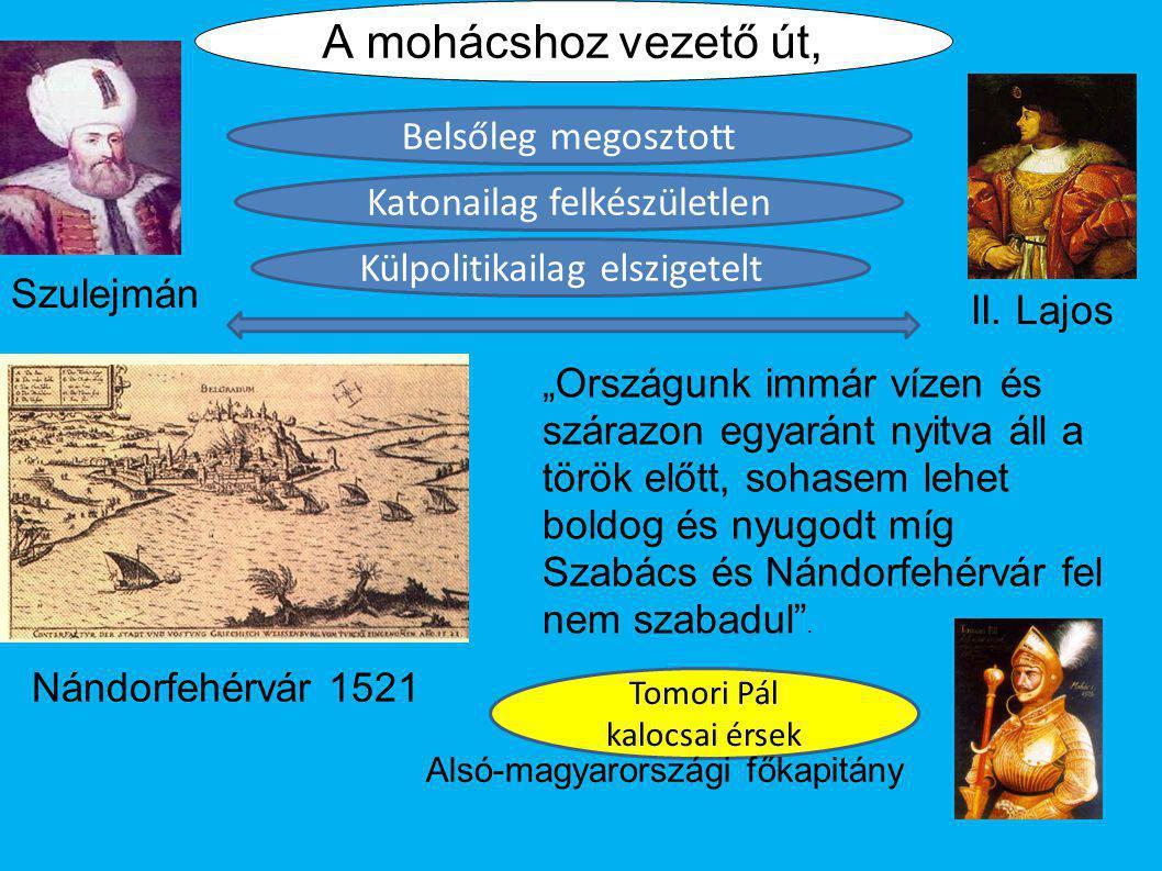 """Nándorfehérvár 1521 """"Országunk immár vízen és szárazon egyaránt nyitva áll a török előtt, sohasem lehet boldog és nyugodt míg Szabács és Nándorfehérvá"""