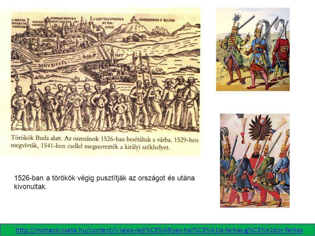 1526-ban a törökök végig pusztítják az országot és utána kivonultak. http://mohacsi-csata.hu/content/ii-lajos-rejt%C3%A9lyes-hal%C3%A1la-farkas-g%C3%A